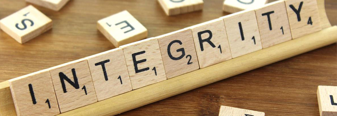 Integrity spelled out in scrabble