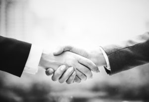 Two people in a handshake